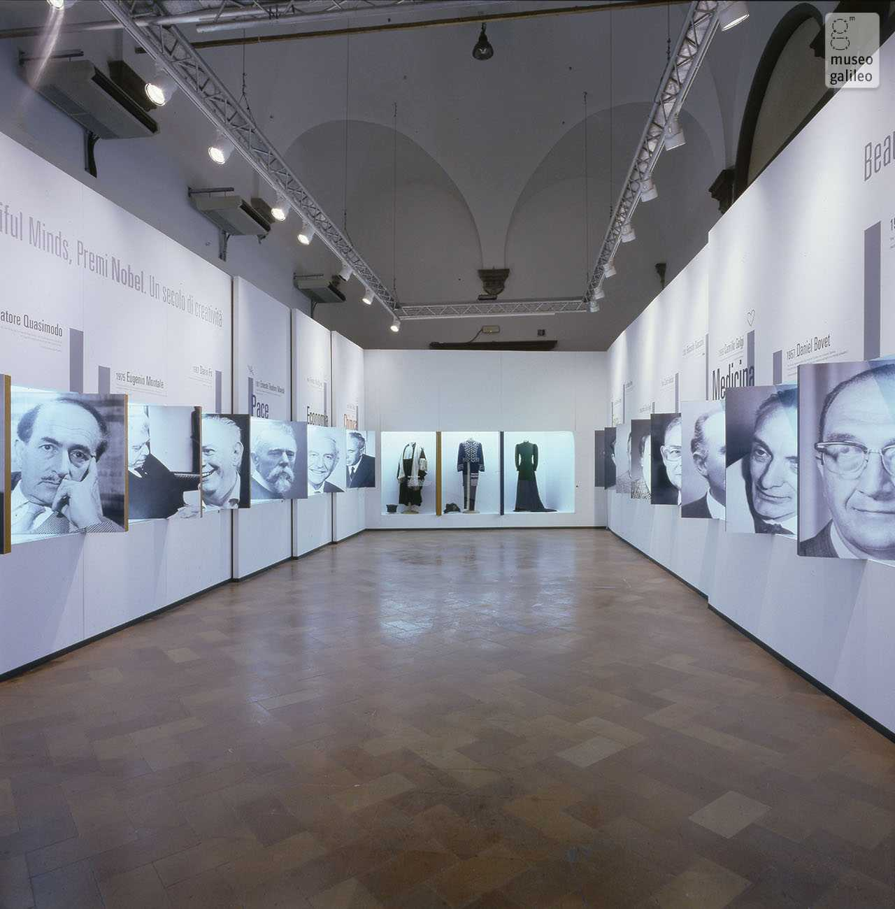 Beautiful Minds. Nobel Prizes: A Century of Creativity. The room devoted to Italian Nobel laureates, Florence, Palazzo Strozzi