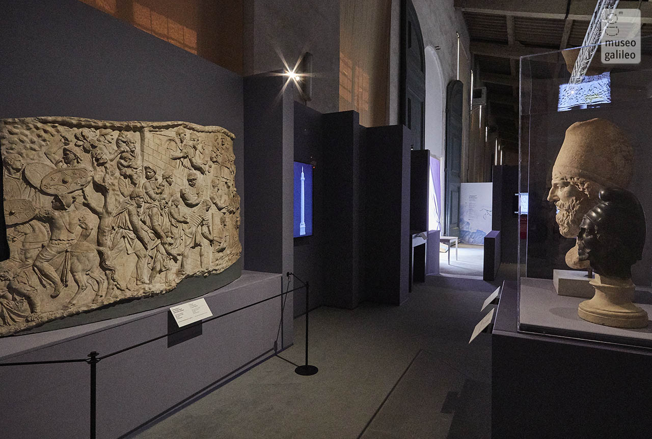 The art of building a masterpiece: Trajan's Column. Cast of the column and portraits of Dacians, Florence, Limonaia of Boboli