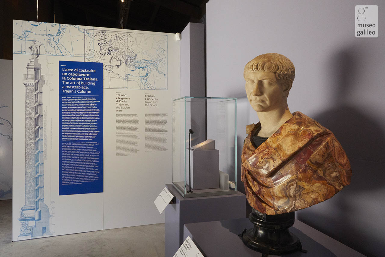 The art of building a masterpiece: Trajan's Column. Portrait of Trajan, Florence, Limonaia of Boboli
