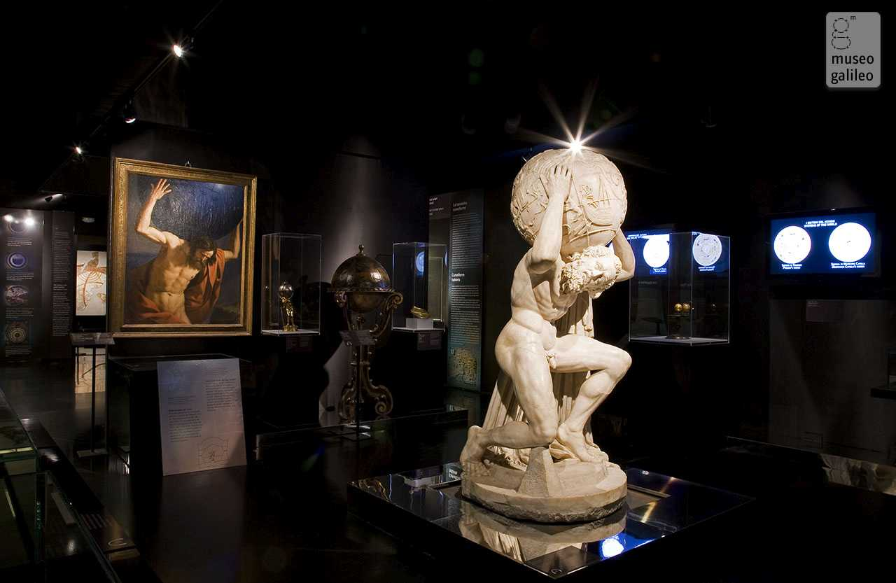 Galileo: Images of the Universe from Antiquity to the Telescope. Introductory Room: the Farnese Atlas in the foreground, Florence, Palazzo Strozzi