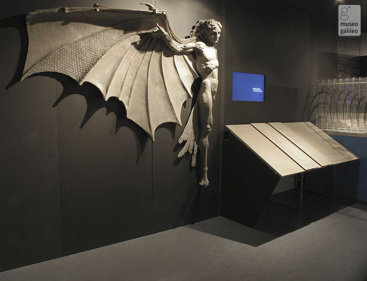 The Mind of Leonardo: The Universal Genius at Work. Exhibition hall with the model of the ornithopter, Florence, Galleria degli Uffizi