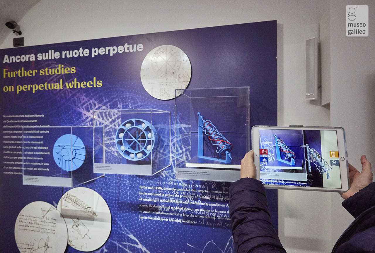 Leonardo da Vinci and perpetual motion. Guided tour with reconstructions in augmented reality of the exhibited models, Florence, Museo Galileo
