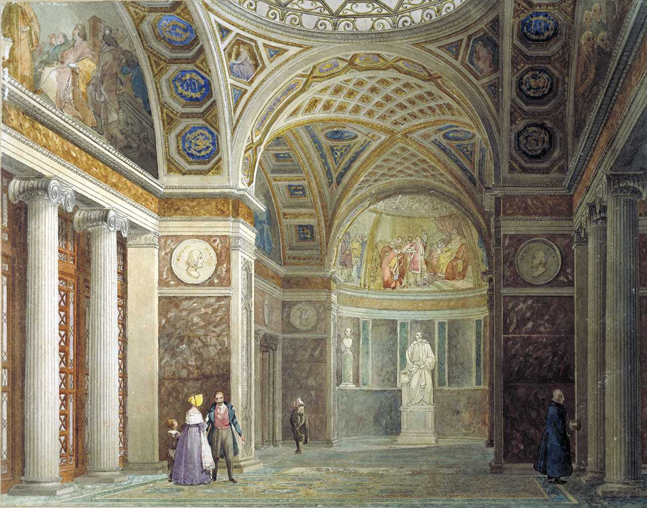 Giuseppe Martelli, Vestibule and part of the interior of the Tribune of Galileo, c. 1841. Florence, Gabinetto Disegni e Stampe e degli Uffizi