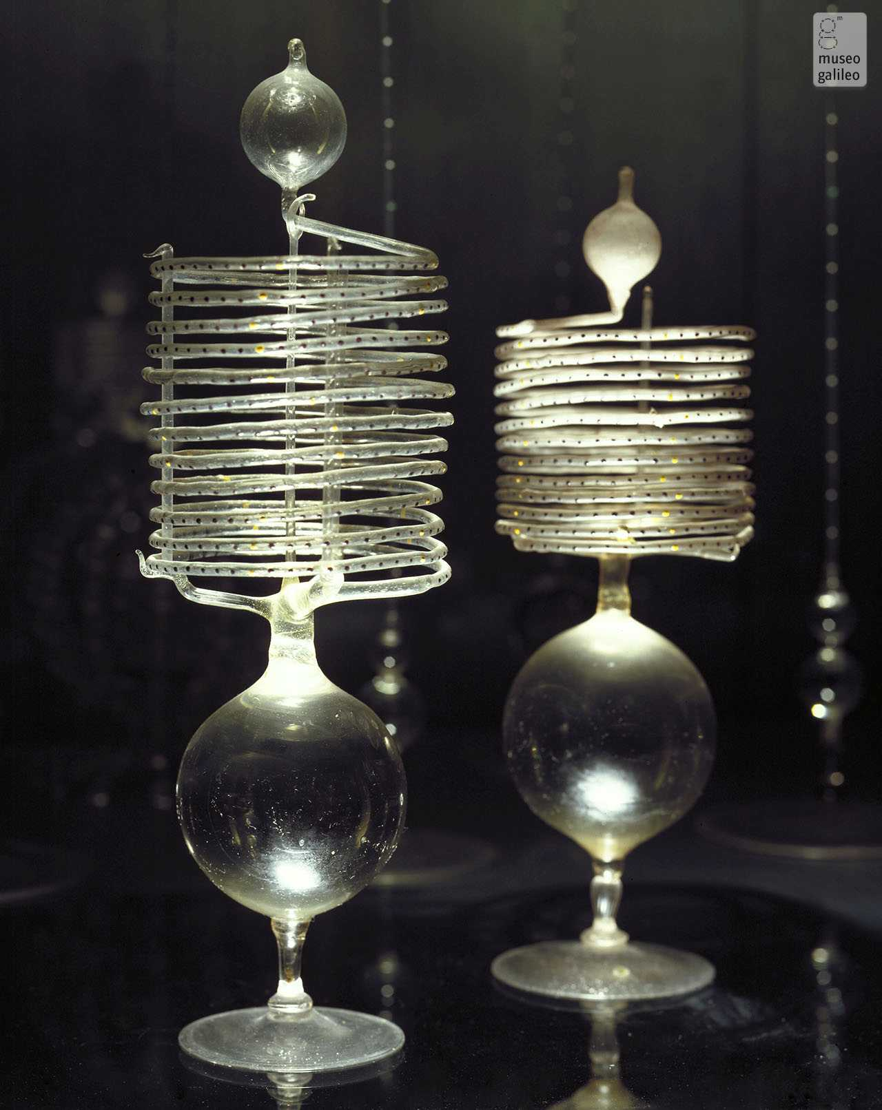Spiral thermometers of the Accademia del Cimento held in the Museo Galileo in Florence