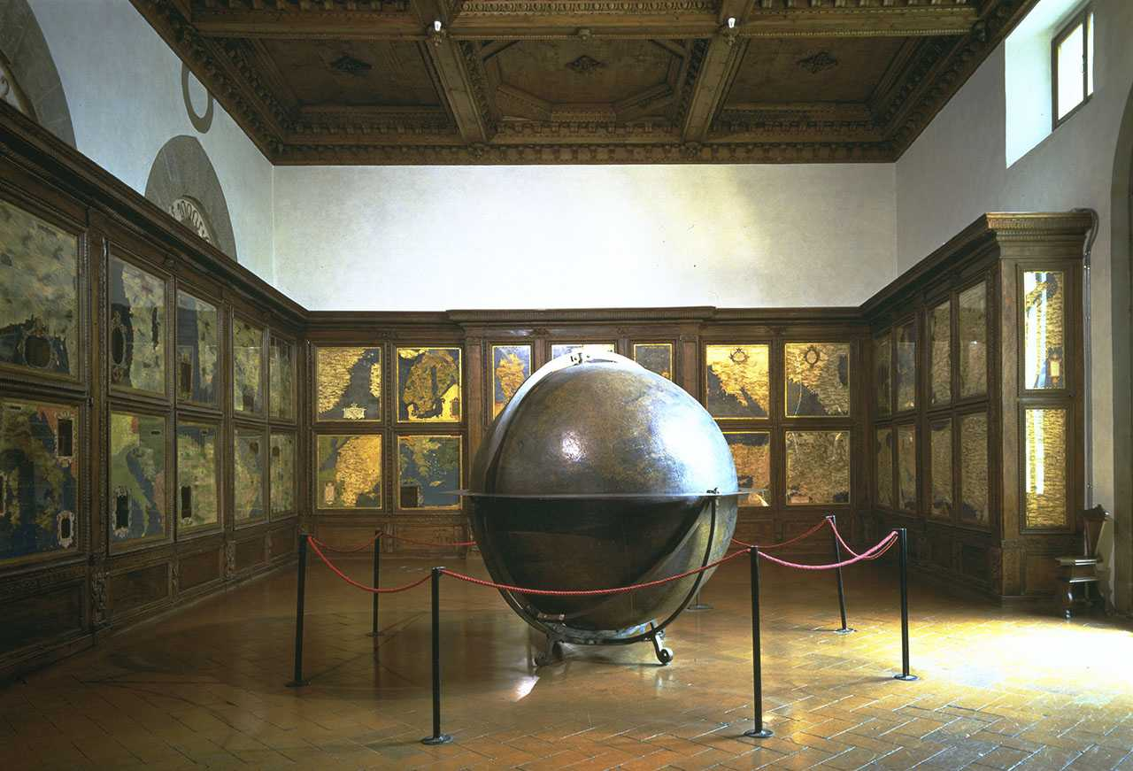 View of the Hall of Geographical Maps,  or Guardaroba, with the globe in the center built by Egnazio Danti, Palazzo Vecchio, Florence