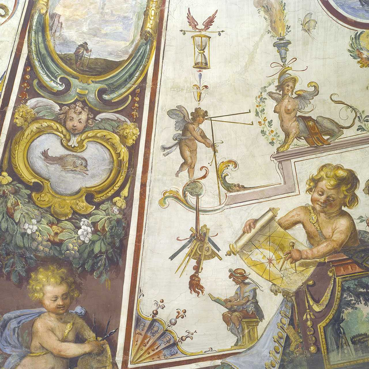 Detail of the ceiling of the Stanzino delle Matematiche by Giulio Parigi, Uffizi Gallery, Florence