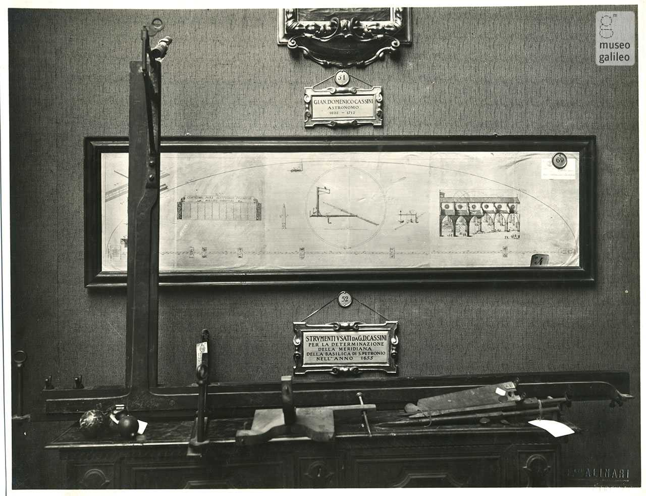Tools used by the astronomer Gian Domenico Cassini for the determination of the sundial in the Basilica in Bologna in the year 1655, on display at the First National Exhibition of the History of Science