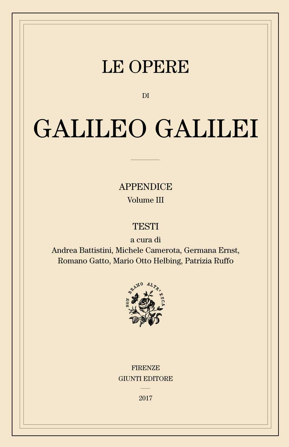 A new volume of the Updated Supplement to the National Edition of Galilei's Works: Testi